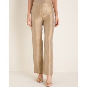 Chico's Gold Shimmer Welt Pocket Pants Size Small